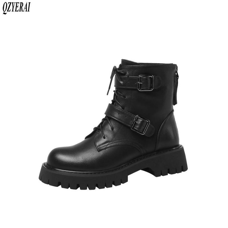 QZYERAI Autumn winter new Genuine leather Women boots ankle fashion warm motorcycle Female boots cowhide Women shoes