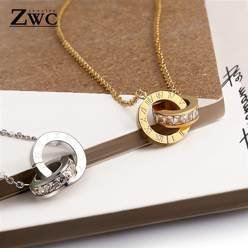 Pendentif Colliers ZWC Fashion Gold Couleur Roman Numéral Collier Pendentifs Pour Femmes De Mariage Partie En Acier Inoxydable Bijoux Cadeau
