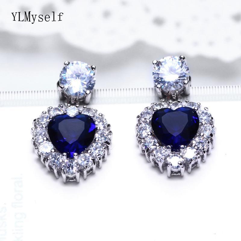 Orecchini di goccia migliori regali di Charme Bella Big Blue Stones ciondolano l'orecchino gioielli femminili di disegno del cuore delle donne per la moglie
