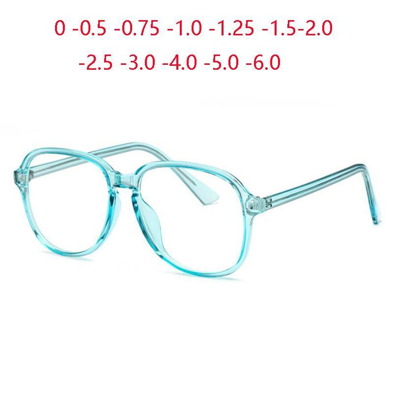 Sonnenbrille Candy Color Oval Optical Brillen Weibliche männliche transparente blaue anti-blaue Lichtverschreibungsspektlexe -0,5 -0,75 -1,0 bis -6,0