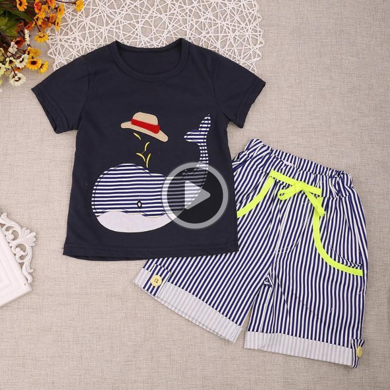 Verão Crianças Roupa Set algodão Meninos Roupas baleia dos desenhos animados Imprimir manga curta + T-shirt listrado Shorts Pants Outfits