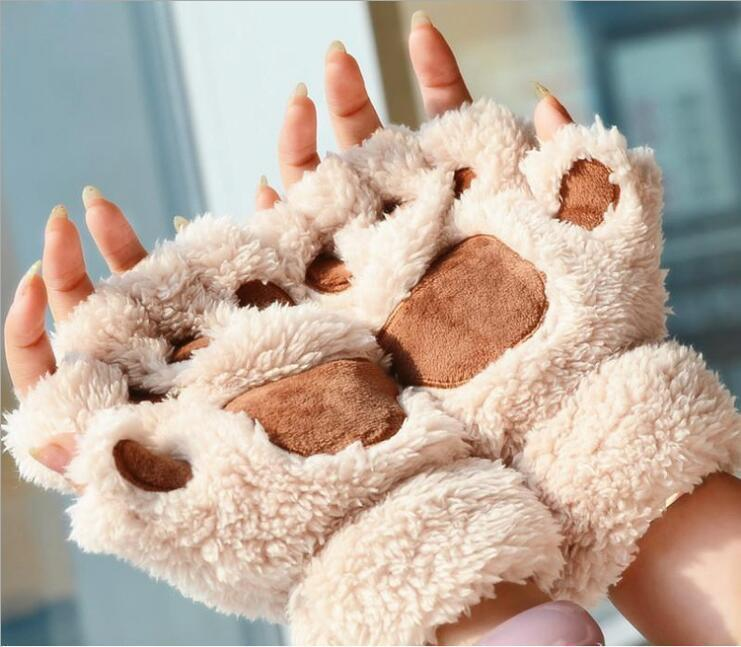 Le donne del gatto di artiglio peluche guanti caldi morbido peluche breve dita Fluffy Bear Cat guanti mezze dita Costume Nero Beige