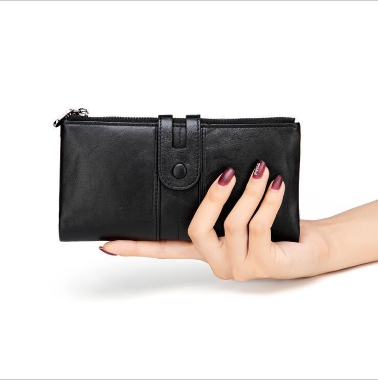 Европейская и американской моды кожи леди вертикального бумажник многофункционального студентку мобильного кошелек RFID Длинного бумажник Сумка сцепление