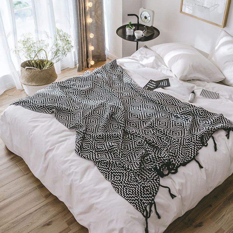 Геометрия Вязаная Одеяло весна осень Хлопок Бросьте Одеяло для взрослых / детей Cobertor диван воздуха в кровать Постельные принадлежности Покрывало простыню