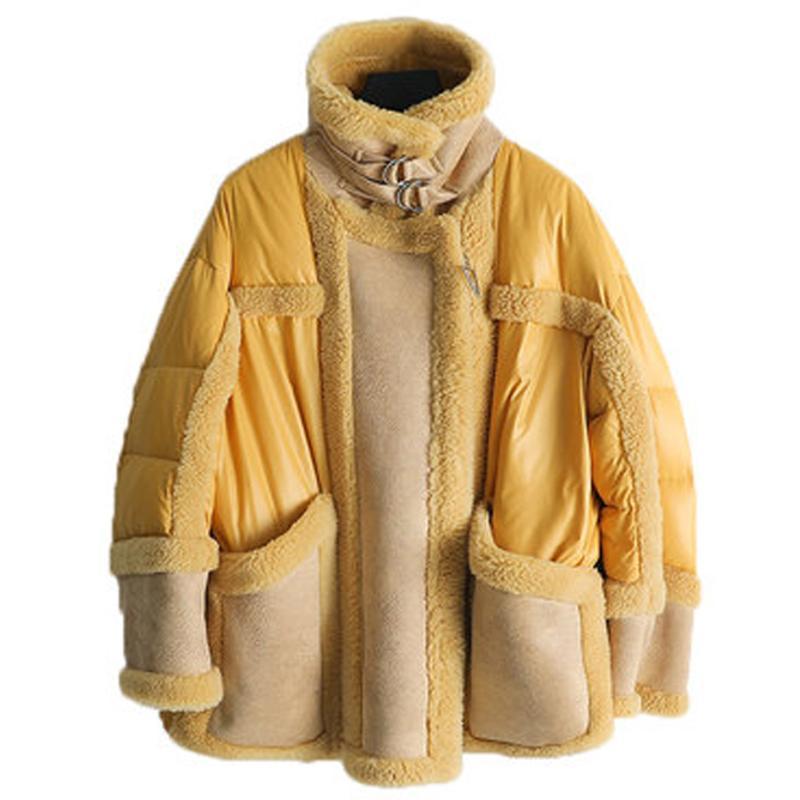 Faux Fur Coat lungo Cappotto in montone Giallo Down Jacket di 2020 nuova delle donne donne cappotti di inverno