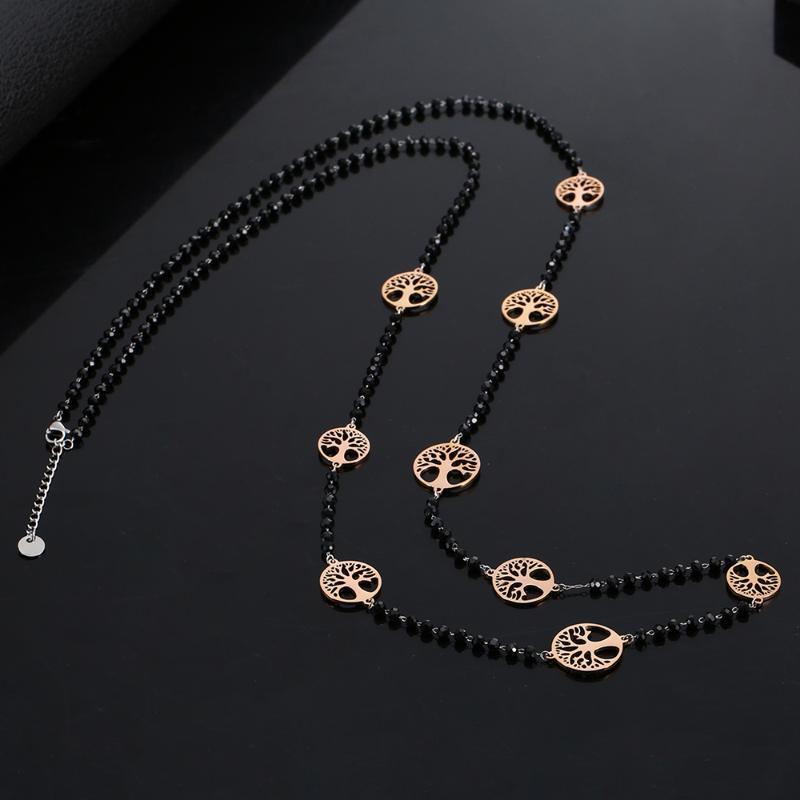 Collana di cristallo nero di lusso per le donne in acciaio inox Albero della Vita Charms collana lunga elegante Nuovo partito 2020