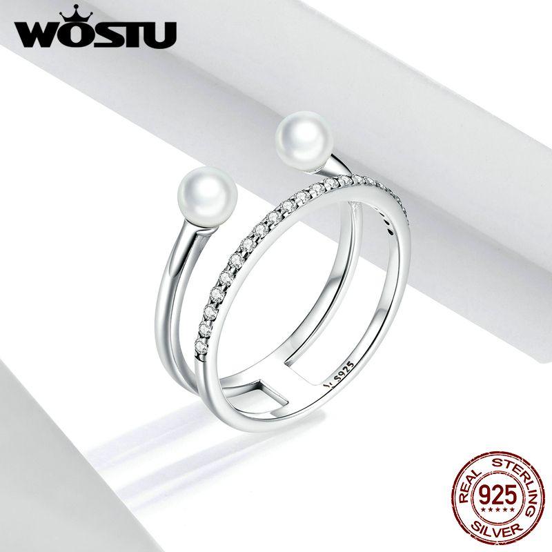 WOSTU autêntica 925 anéis Sterling Silver Geometric Shell Beads CZ pingente para as Mulheres Engagement Declaração Jóias FIR668