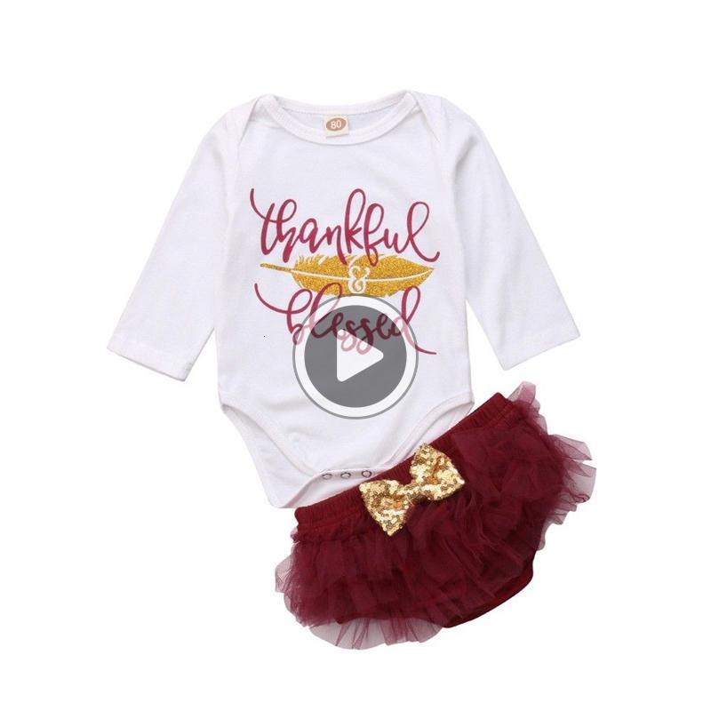 FOCUSNORM Ringraziamento Newborn neonate vestiti cotone a maniche lunghe pagliaccetto + vestito dal tutu 2 pezzi Outfits Clothes Y18120801