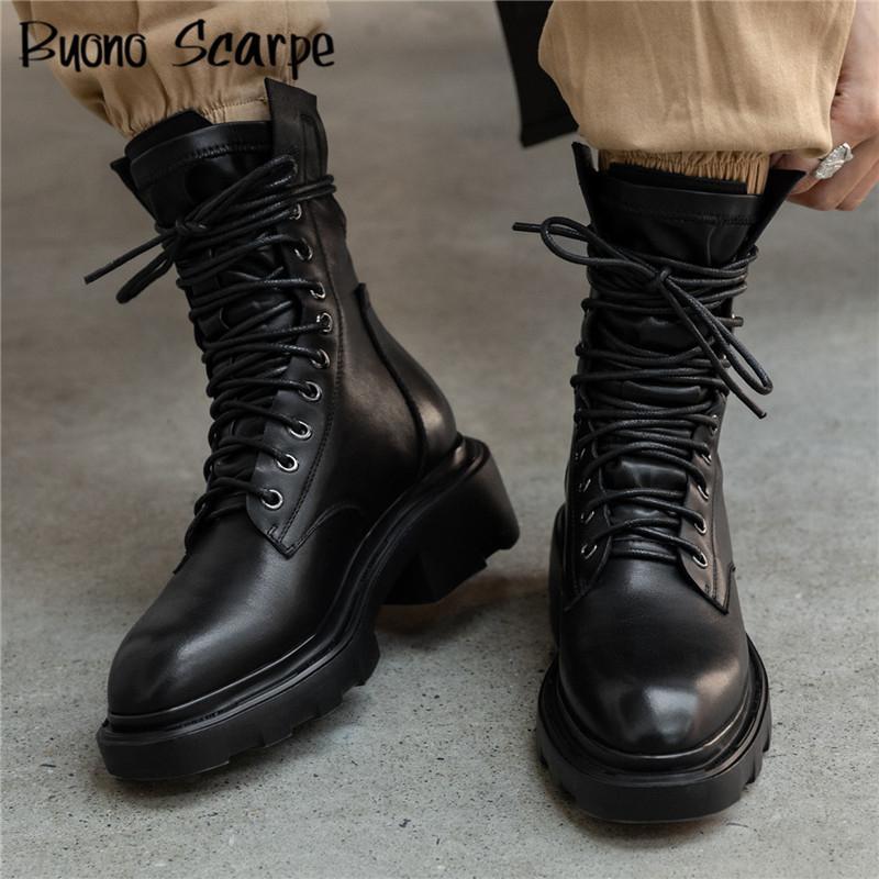 플랫폼 여성 발목 부츠 크로스 묶여 오토바이 부츠 두꺼운 바닥 지퍼 부츠 레이스 업 블랙 가죽 Botas 보낸 Mujer 여성 신발