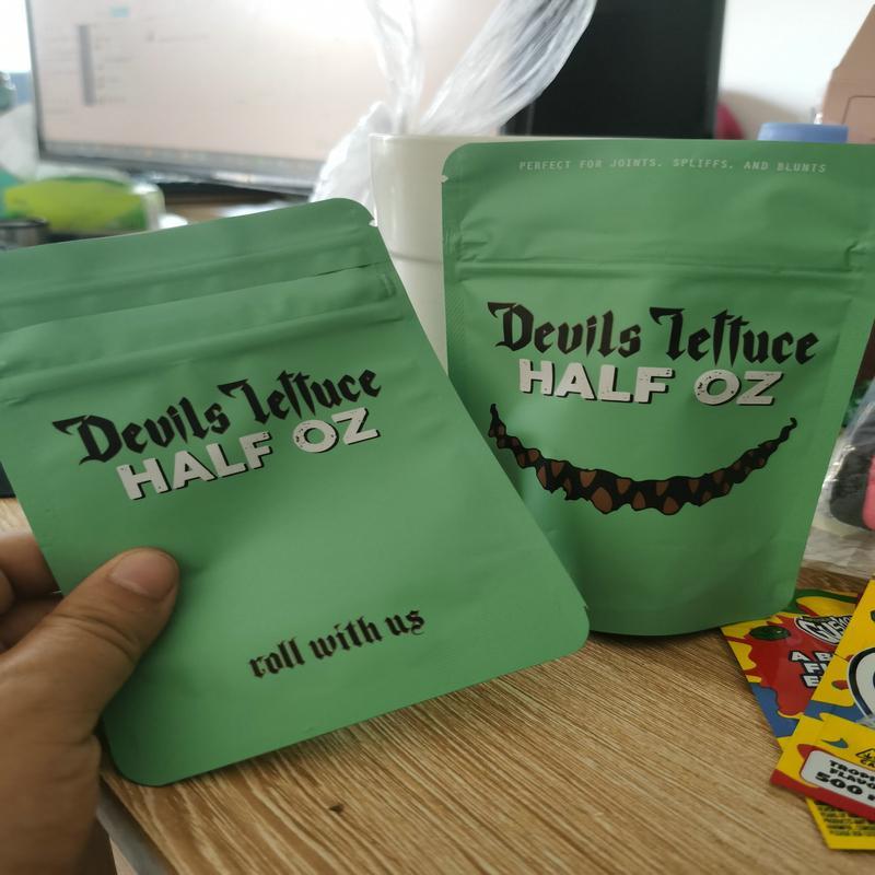 Devils Zip Dry Herb Kind Halb Oz Beutel Salat Verpackung für Devils Airtight Salat Mylar Oz Proof Kindergesicherte 3.5 Tasche Halb IFbxX