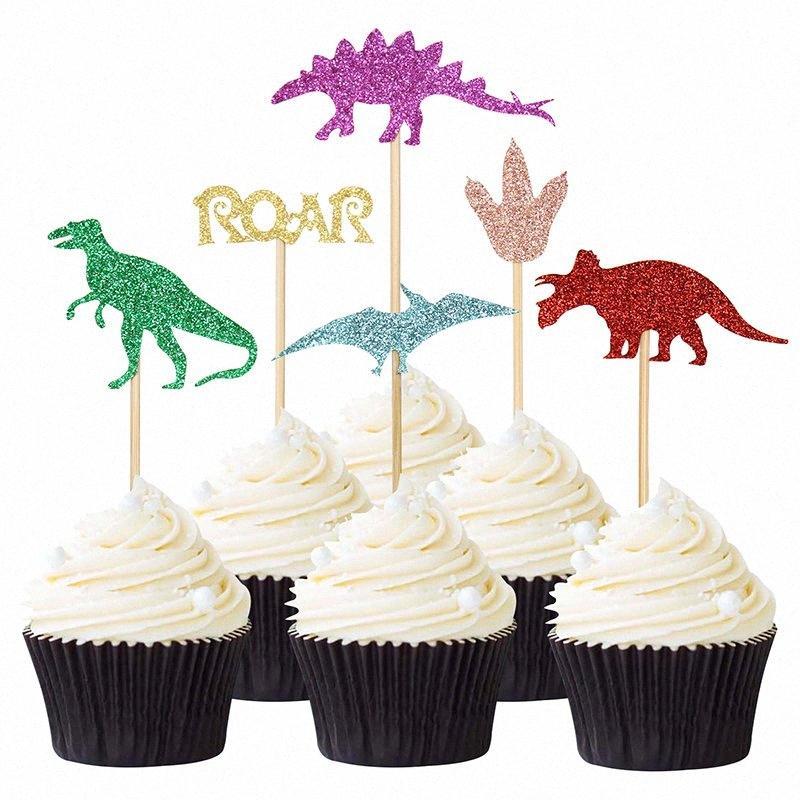 6pcs Glitter dinosaures Cupcake Toppers Roar Thème Jungle Party d'anniversaire d'enfant baby shower décoration de gâteau de célébration Faveur QYVL #