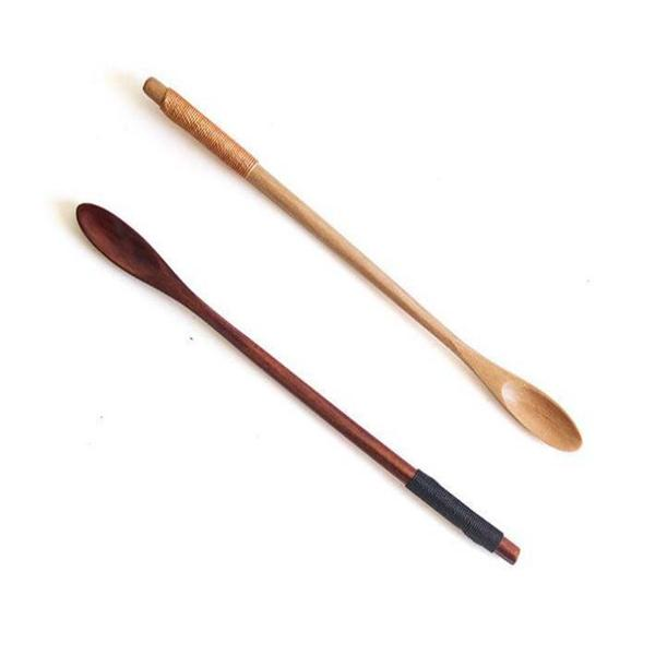 100шт / много деревянных ложки Natural Long Handle Перемешивающего Дерево Ложка Пейте Десерт Мед Кофе 20cmx1.3cm