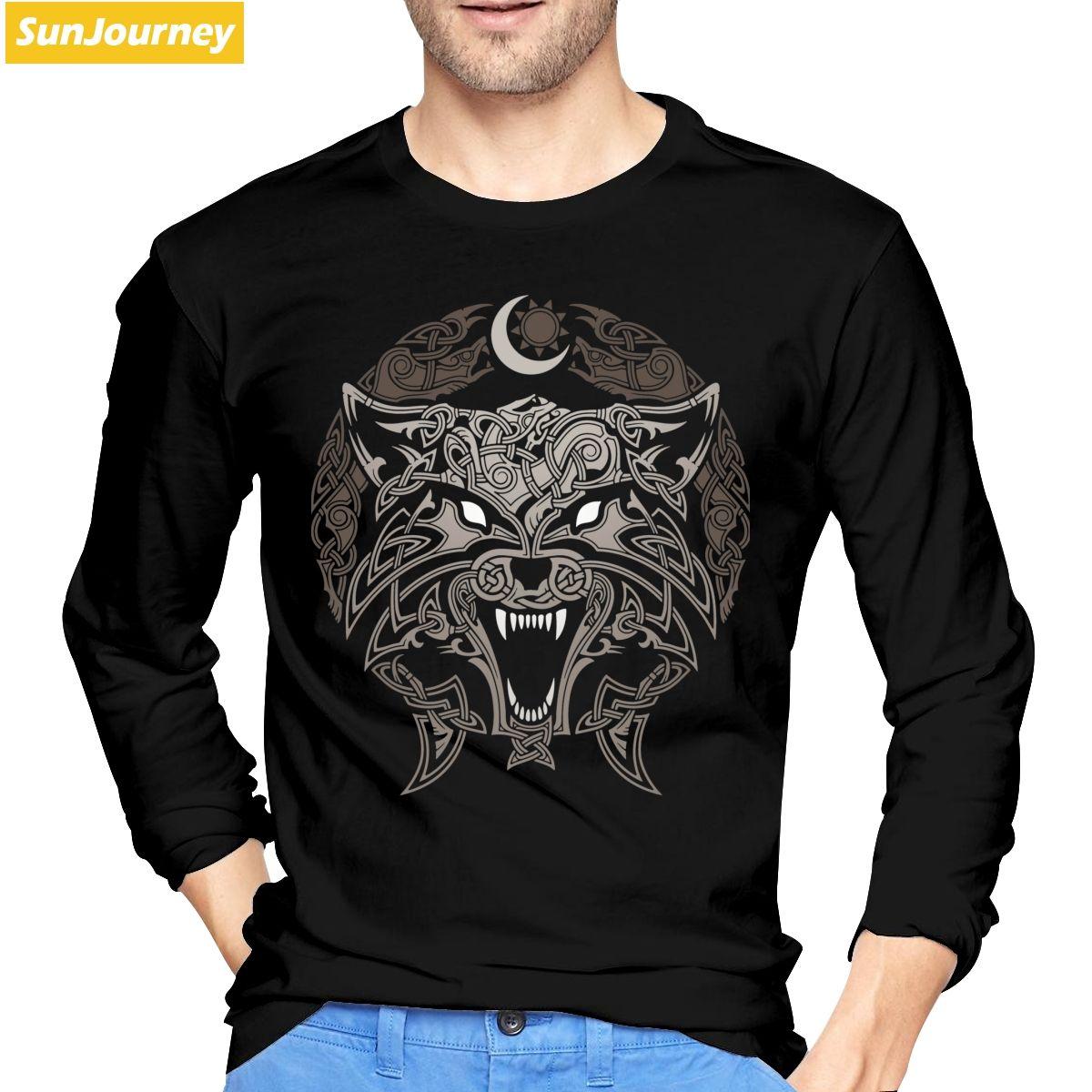 Vikings Wolves T Shirt Cotton Long Sleeve T Shirt Men
