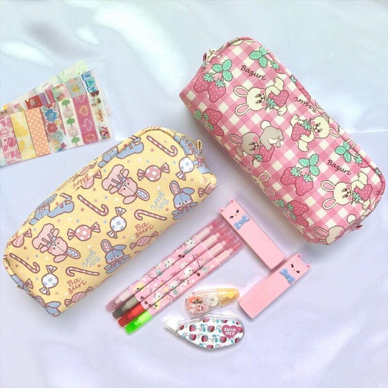 Lapin bonbons beau sac crayon étudiants Holder Box femmes cosmétiques cas Cute Girl Maquillage Sacs Voyage Sac pochette toilette Bentoy
