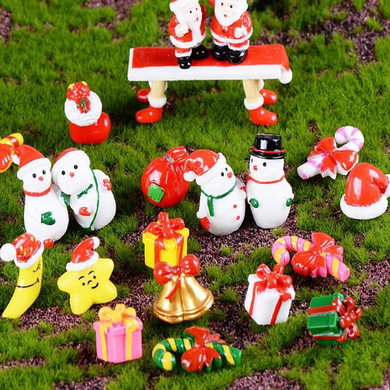 Caja miniatura del árbol de Navidad del muñeco de regalo de la decoración del ornamento del trineo Micro Paisaje de la escena de la nieve Decoración de Navidad para el hogar