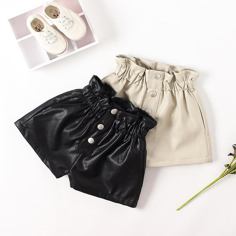 New autumn winter Kids faux leather Shorts For Girls baby Girl Short Princess Jeans Children short Pants 6 8 10 12 years