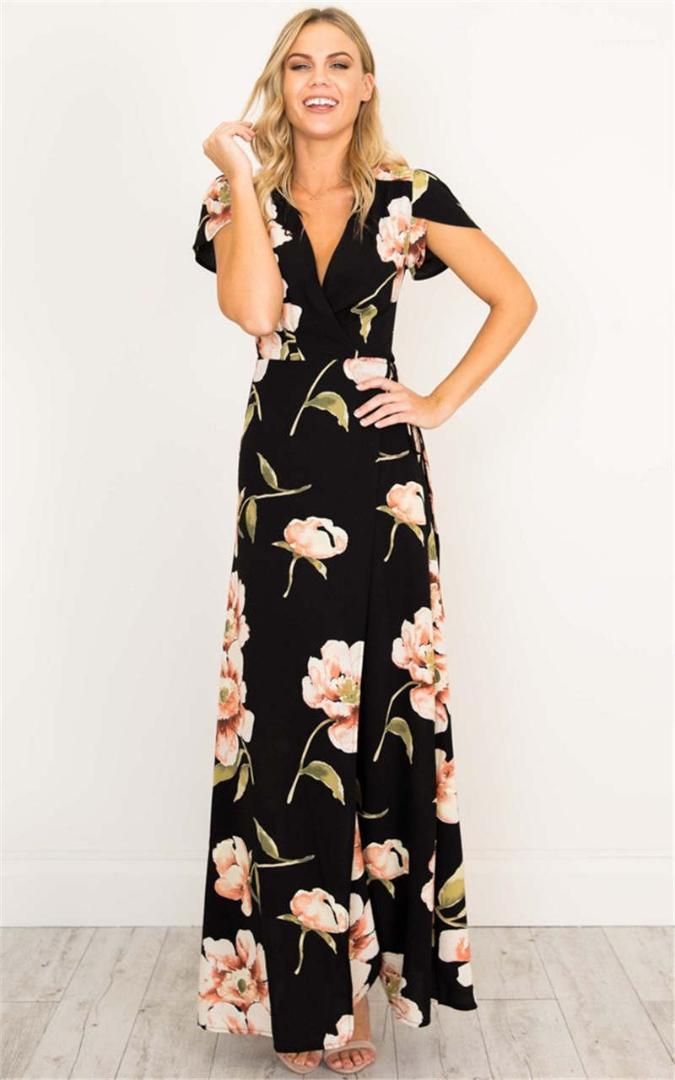 Kadın V Yaka Cap Kol Bilek uzunluğu Flora Baskılı Modelleri Kadın Yaz Elbise Kadın Tasarımcı Günlük Elbiseler