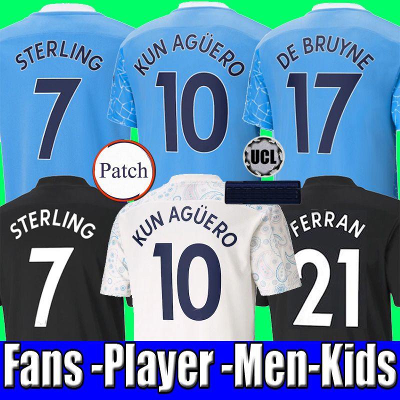 팬 플레이어 버전 2020 2021 STERLING DE BRUYNE KUN 아궤로 메시 (20) (21) 맨체스터 축구 저지 시티 저지 축구 셔츠 남자 아이 키트 세트