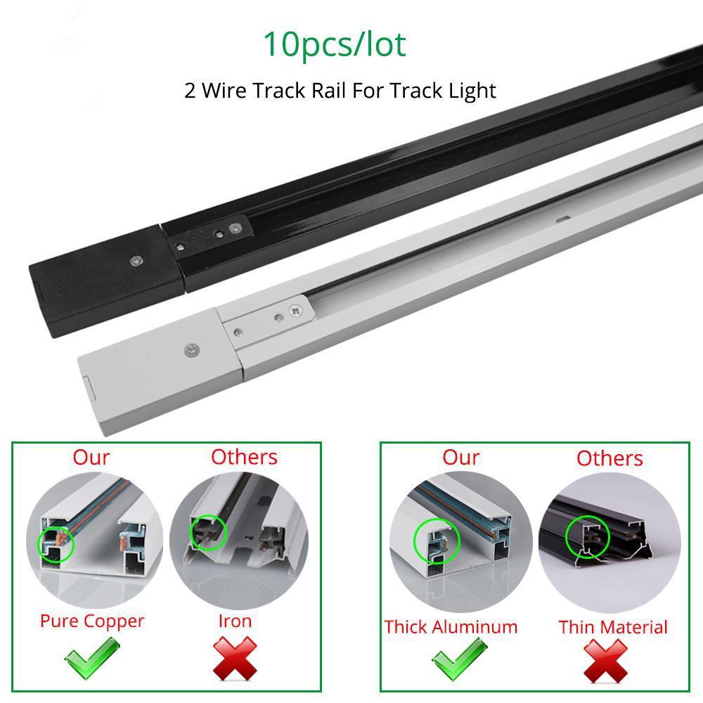 Cgjxs Spurschiene 1m Schienen-Licht Montage Aluminium 1 Meter 2-Draht-Verbindungssystemketten Fixture Schwarz Weiß Universal-Rails 10pcs / Lot