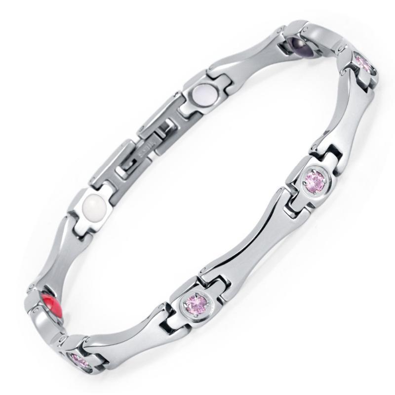 Bracelete magnético de aço inoxidável Saúde Energia elegante com ímã strass Amizade pulseiras para Mulher