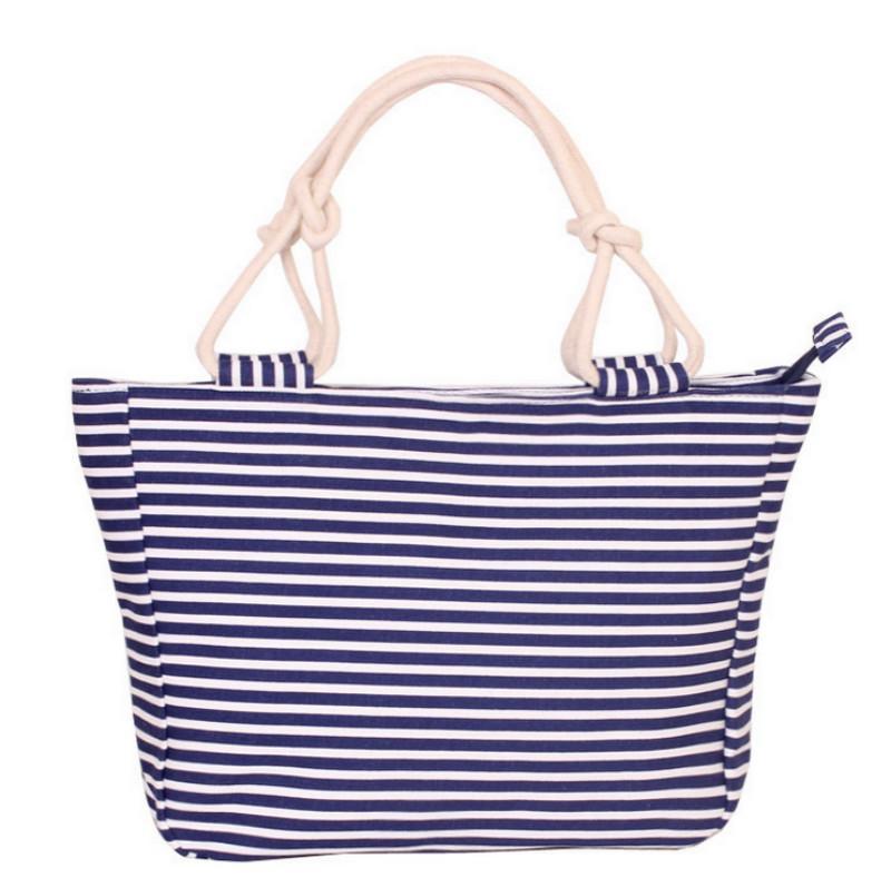 2020 새로운 여름 캔버스 쇼핑 가방 스트라이프 무지개 사탕 인쇄 비치 가방 핸드백 토트 여성 여자 여자 어깨 가방 캐주얼 Bolsas 가방