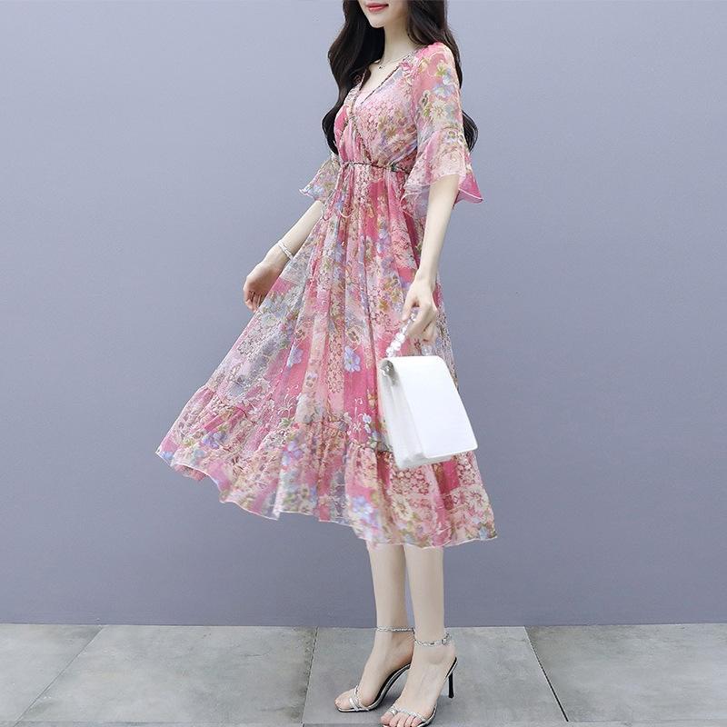 sZOP6 verano de la gasa de la falda del vestido de la cintura del vestido de 2020 nuevas Corea mujeres de la manga de la trompeta de adelgazamiento dresslong impresión mitad de la longitud de la falda de hadas tPYH2