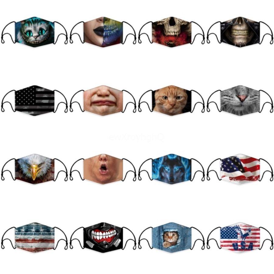 Moda 3D Baskı Karikatür pamuk ağız Windproof Unisex # 961 Maske takmak Yıkanabilir Tekrar Kullanılabilir Karşıtı Toz Yüz MasksWarming Maske