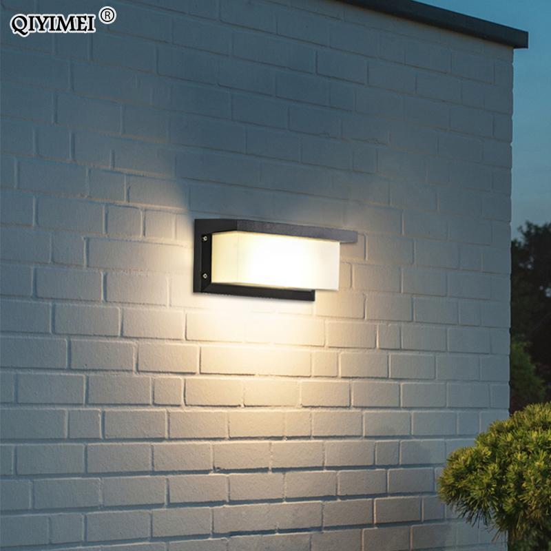 LED étanche porte avant mur Lampe de jardin extérieur Décoration Éclairage Sconce AC85-260V Luminaire luminaire noir abat-jour