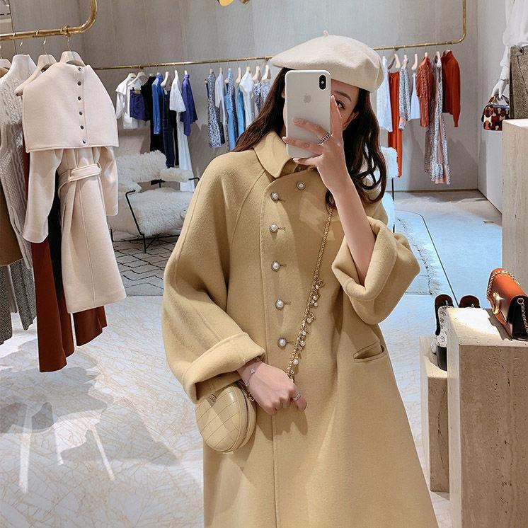 2020 Nueva alto grado de doble cara de la capa de lana de lana Escudo En Long collar de la muñeca caliente de moda una línea floja mujeres de lana de invierno