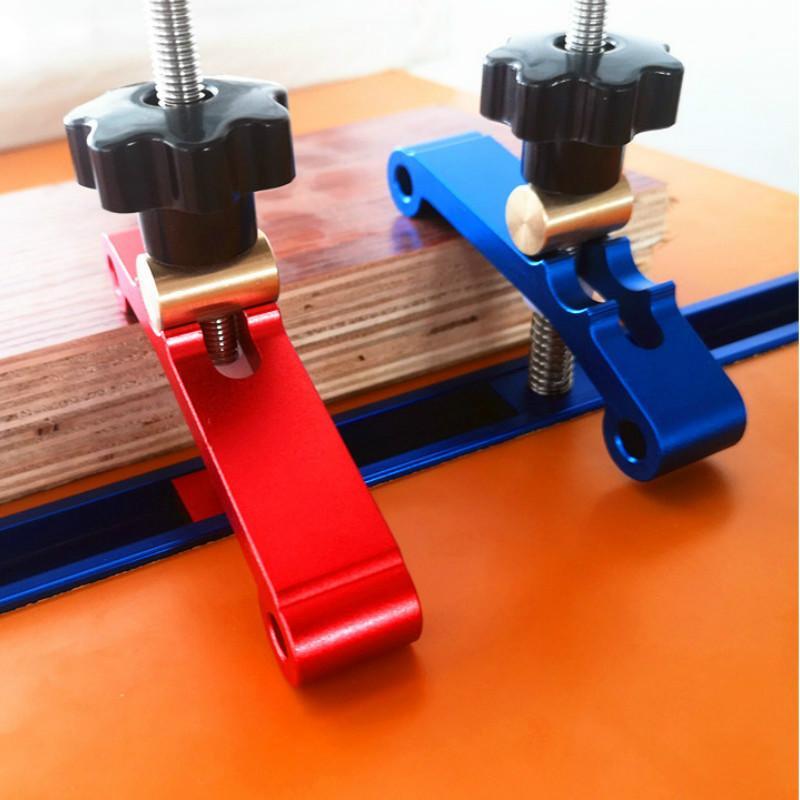 Lega di alluminio T-track serraggio blocchi legno Jig universale T Slot bloccaggio blocchi Platen lavorazione del legno strumento per Tavolo di fresatura