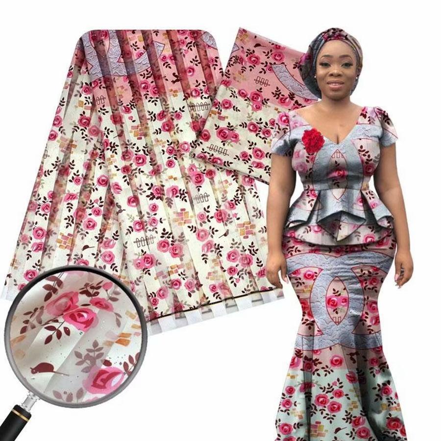 الترتر الأورجانزا الدانتيل نسيج الحرير تمتد من الساتان والحرير قماش الشيفون 4 ياردة + 2yards النسيج الشمع الأفريقي لخليط أنقرة خياطة فستان