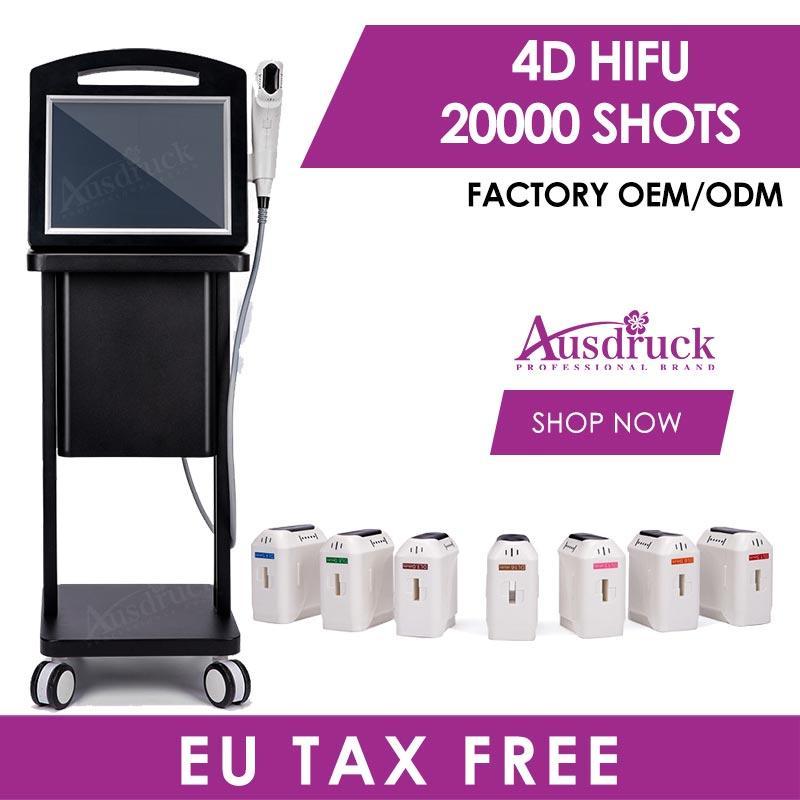 유럽 연합 (EU) 면세 한국 HIFU 페이스 리프트 기계 피부 리프팅 강화 장치 RF 스킨 케어 페이셜 바디 Ultherapy 아름다움 기계 (8) 트랜스 듀서