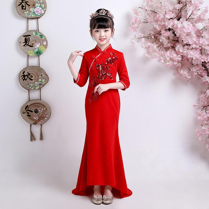 2020 Fashion Red Long Sleeve Cheongsam Qipao Girls Childrens Party Dresses Child Tailing Chinese New Year Cloths Baby Guzheng