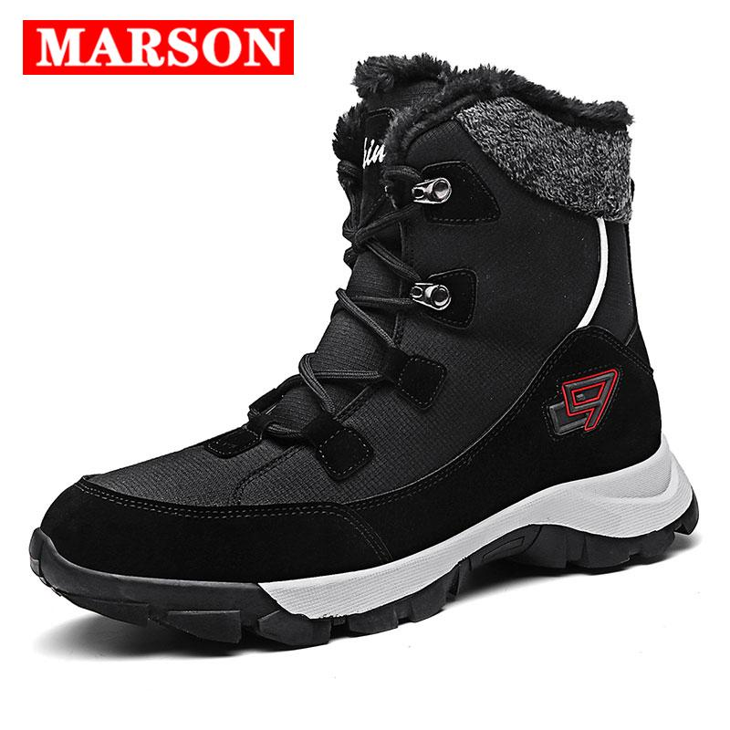 Hombres Botas de botas para la nieve pareja de invierno gruesa felpa zapatos de invierno de la moda unisex antideslizantes impermeables de piel caliente más el tamaño