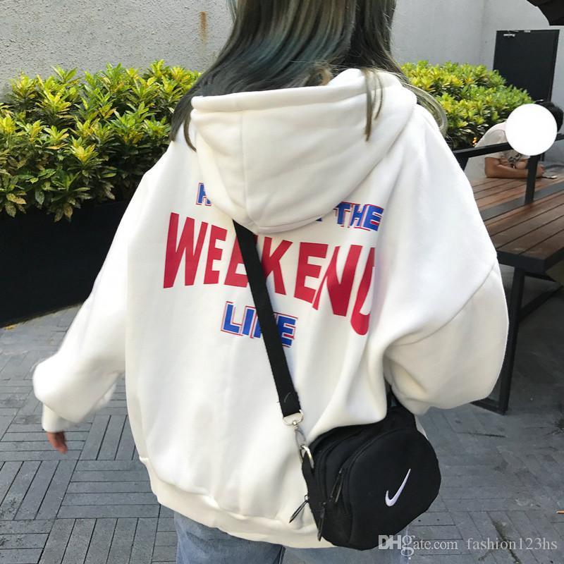Hoodies Kadınlar Mektup Baskılı Gevşek Kapşonlu Trendy Cepler Artı Kadife Tişörtü Bayan Kore Tarzı Harajuku Tüm Maç Chic