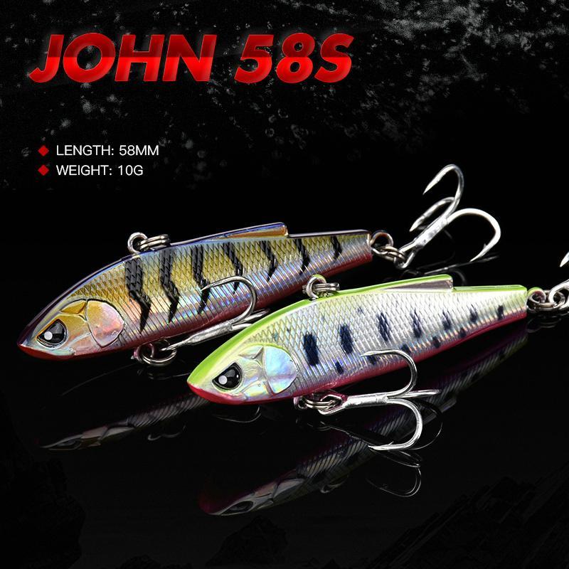 ALLBLUE 2020 Nuovo ARRABBIATO JOHN VIB 58MM / 70MM plastica dura Fishing Lure Inverno Ice vibrazioni Pike Fishing Tackle T200917