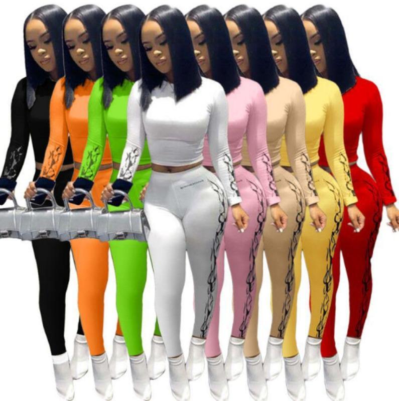 8 Couleur Femmes Long Two Piece Ensemble de T-shirt imprimé à la mode Pantalon de tirettes Designer Sexy Vest Leggings Casual Jogging Vêtements P