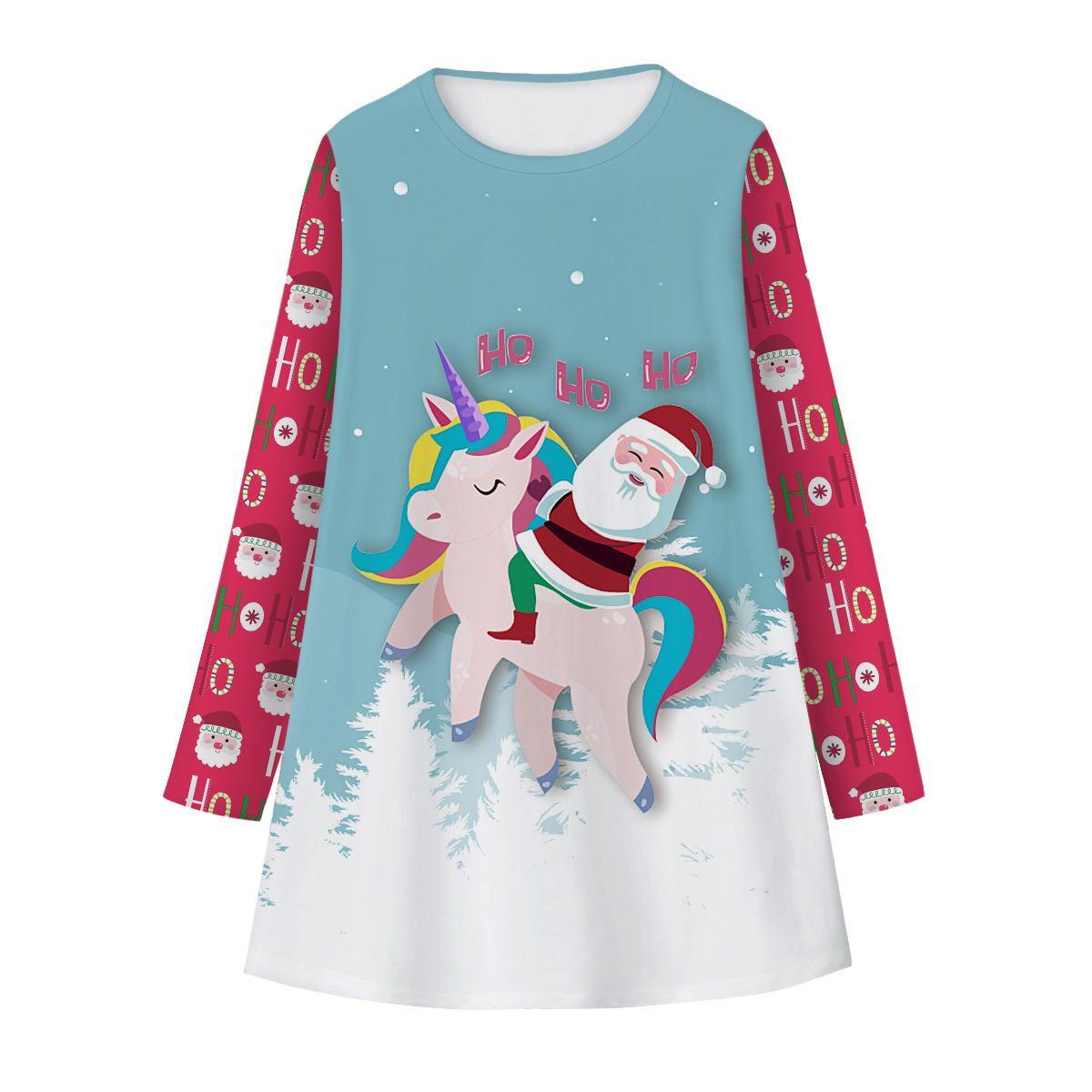 New Christmas Space Unicorn Digital Print Girls' Dress Fashionable Long Sleeve Children's Dress Autumn Winter Dress