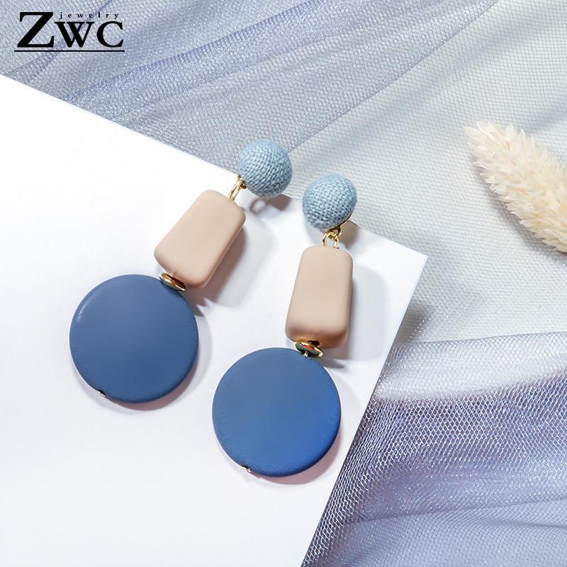 ZWC 2020 Trendy New Geometrische Holz-Tropfen-Ohrringe für Frauen Grün Blau Rosa hängende Ohrringe Fashion Statement Schmuck