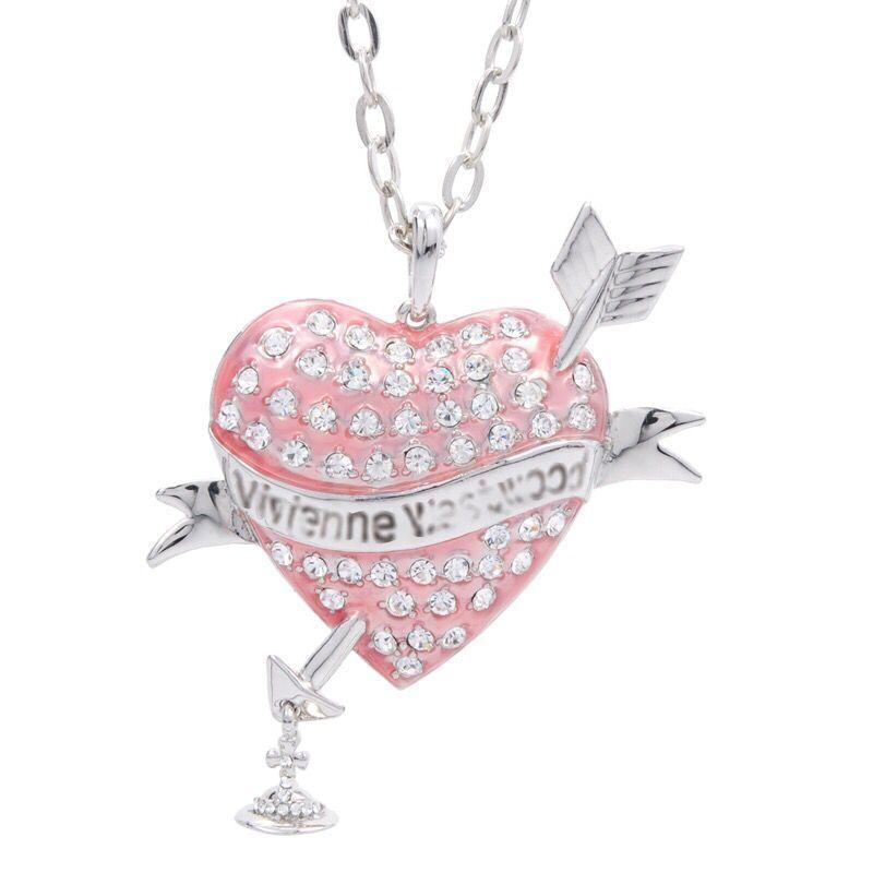 Large One Arrow Through Heart Necklace Pink Black Heart With Diamonds One Arrow Through Heart Necklace Saturn Necklace