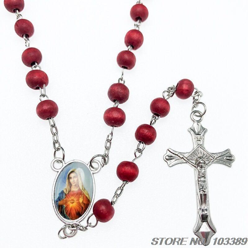3pcs / pack rosso o scuro rosa profumo profumo rosario vergine centro mary in lega di zinco Gesù collana pendente croce imballaggio oppbag