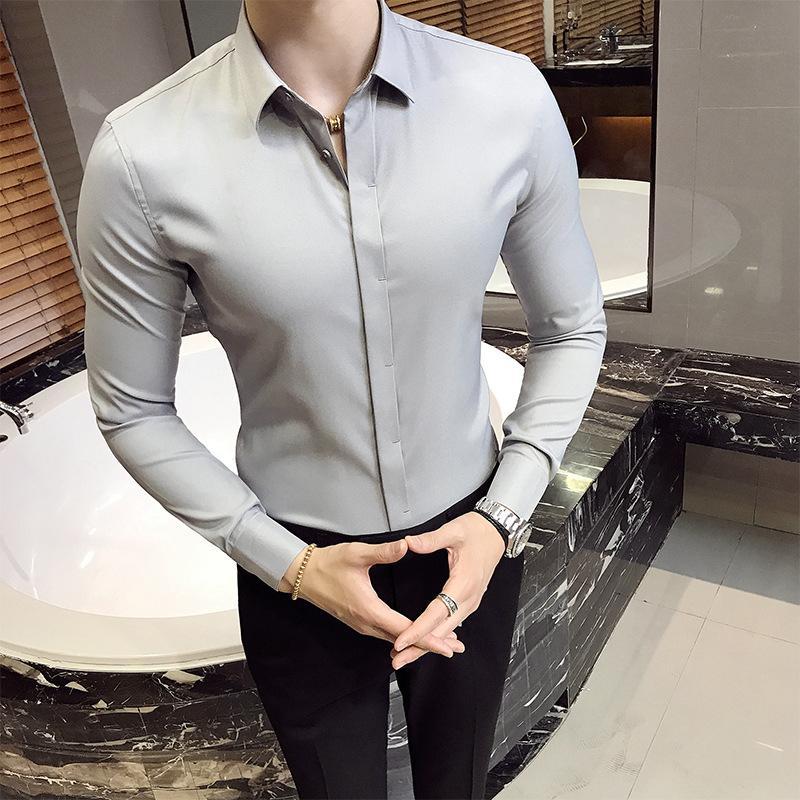 The new dark-doored solid-colored shirt boy long-sleeved top Korean version slim groom bridesmaid wedding solid-color shirt.