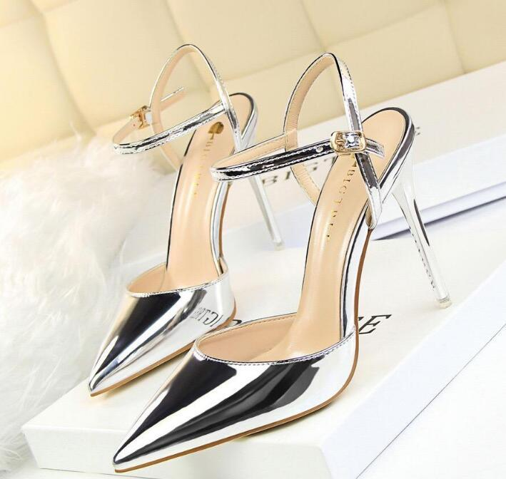 2020 Sexy Buckle Strap Sandals Women Heels Pumps Pointed Toe Thin High Heels Festival Party Wedding Shoes Formal Pumps Stiletto Sandals