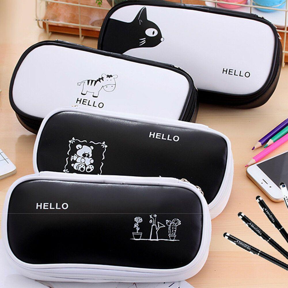 Linda de gran capacidad de la pluma de la caja de lápiz Box School papel pluma cosmética del bolso negro simple y la caja de lápiz blanco multifunción PE