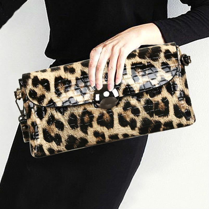 Bolso de cuero de la bolsa de cuero bolsas de boda bolsa de boda bolsa de fiesta banquete mujer suave moda embrague leopardo hombro hembra jgwex