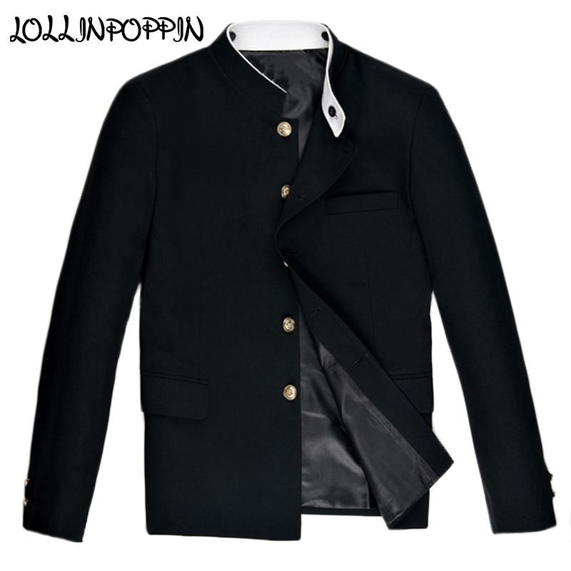 Stile Cinese doppio colletto nero Giacca New Mandarin White Collar Tunic Giacca college Giacche LJ200923