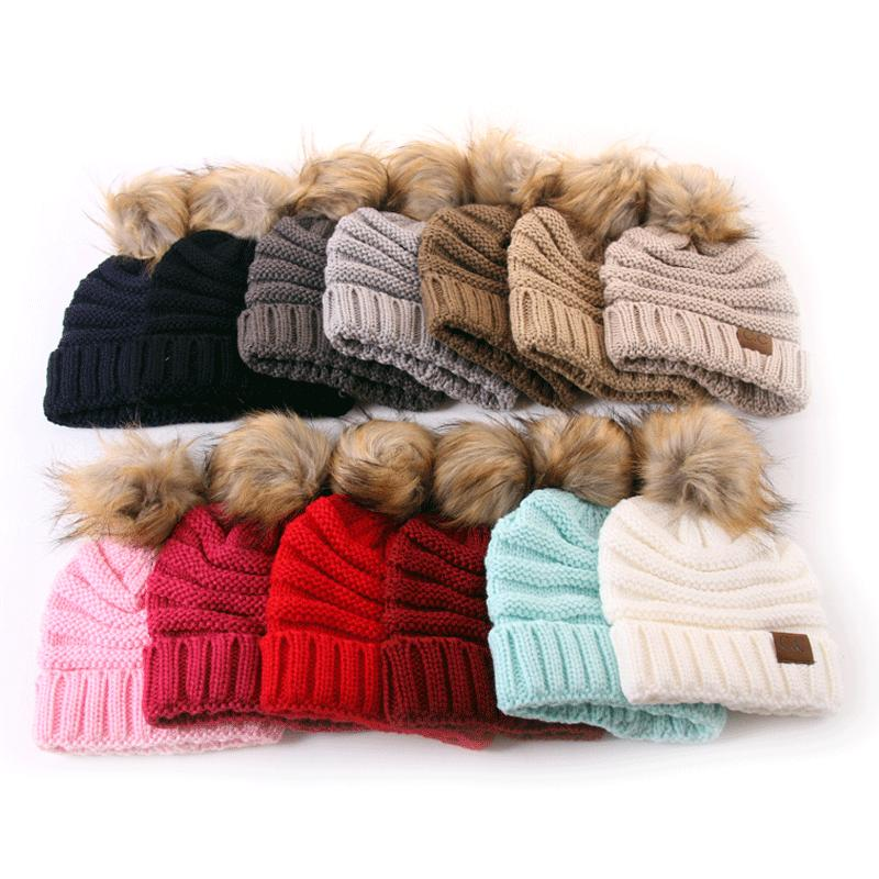 Winter Kids Hats With Fluff Ball Fashion Brand Knitted Hat For Children Keep Warm in Winter Wool Beanie Caps
