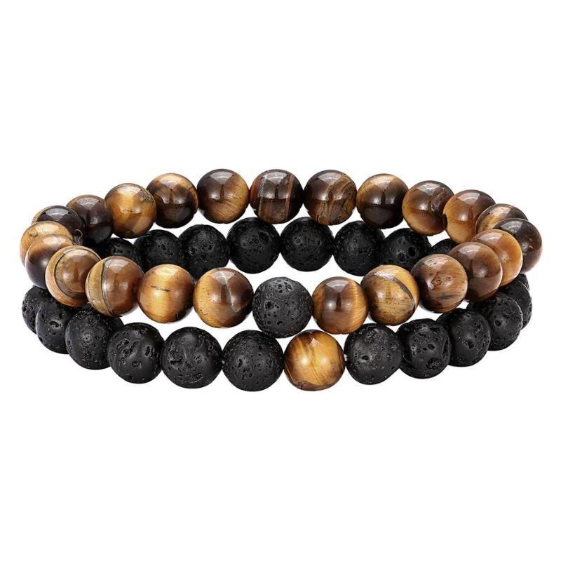 2pcs / set Abstand Armband für Paare Naturstein klassischen Schwarzweiss-Yin Yang Perlen Armbänder für Männer und Frauen am besten