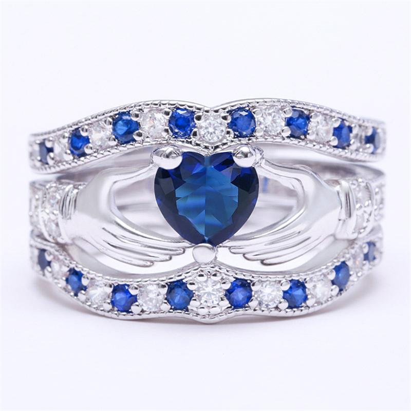 Corazón Azul Claddagh anillos de piedra ubicados boda del amor de las señoras de accesorios anillo Bague Femme Cristal de lujo al por mayor de Anillos O5F306