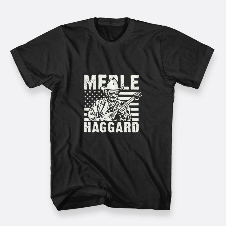 Merle Haggard Ülke Legend Renk Siyah Boyut-boyun o kısa kollu erkek t gömlek baskı 3XL Erkek Tshirt100% pamuk rahat etmek S